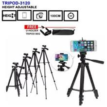 Portable Tripod Stand 3120A Extendable Camera Smartphone Mobile Phone