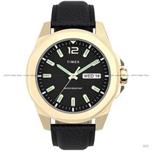 TIMEX TW2U82000 (M) Essex Avenue 44mm Day Date Leather Black Gold