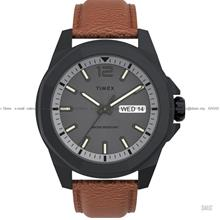 TIMEX TW2U82200 (M) Essex Avenue 44mm Day Date Leather Strap Brown
