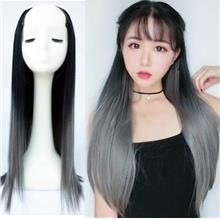 Ready stock Half wig U-part extension ombre grey straight
