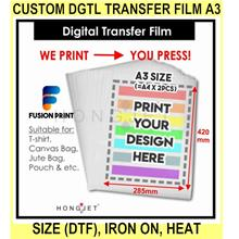Custom dgtl Transfer Film A3 Size (dtf), Iron On, Heat Transfer Film,
