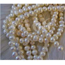 "DIY 15"" Fresh Water Pearls Round Beads 5mm 6mm 7mm White Ivory"