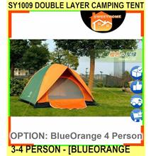 Sy1009 Double Layer Camping Tent 3-4 Person Ou - [BLUEORANGE 4 PERSON]