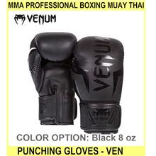 Mma Professional Boxing Muay Thai Punching Gloves - Ven - [BLACK,8 OZ]