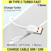 Mi Type C Turbo Fast Charge Cable 30w / 33w Quick Charging - [1 METER]