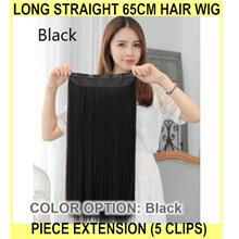 Long Straight 65cm Hair Wig Piece Extension (5 Clips) - READ - [BLACK]