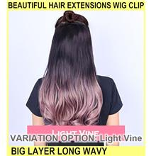 Beautiful Hair Extensions Wig Clip Big Layer Long Wavy - [LIGHT VINE]