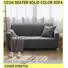 1/2/3/4 Seater Solid Color Sofa Cover Stretch L S - [DARK GREY,SINGLE]