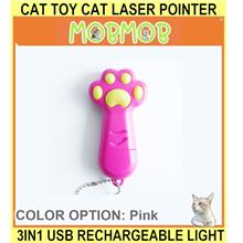Cat Toy Cat Laser Pointer 3in1 USB Rechargeable Laser Light F - [PINK]