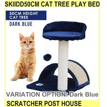 Skiidd50cm Cat Tree Play Bed Cat Scratcher Post House Ca - [DARK BLUE]
