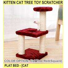 Kitten Cat Tree Toy Scratcher Plat Bed - [CAT TREE RED(SQUARE)]