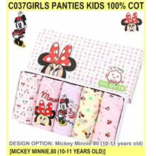 C037girls Panties Kids 100% Cot - [MICKEY MINNIE,80 (10-11 YEARS OLD)]