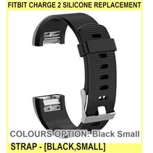 Fitbit Charge 2 Silicone Replacement Strap - [BLACK,SMALL]