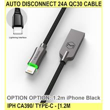 Auto Disconnect 24a Qc30 Cable iPh Ca390/ Type-c - [1.2M IPHONE BLACK]