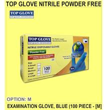 Top Glove Nitrile Powder Free Examination Glove, Blue (100 PIECE - [M]