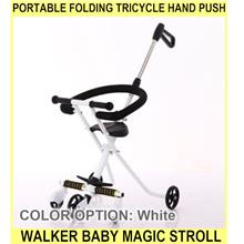 PORTABLE Folding Tricycle Hand Push Walker Baby Magic Stroll - [WHITE]