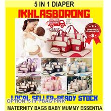 5 In 1 Diaper & Maternity Bags Baby Mummy Essentia - [5 IN 1 BAG PINK]