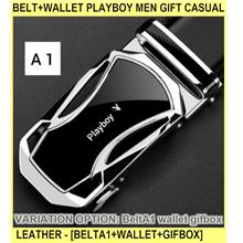 Belt+wallet Playboy Men Gift Casual Leather B - [BELTA1+WALLET+GIFBOX]