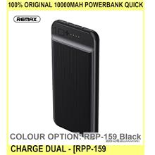100% ORIGINAL 10000mah Powerbank Quick Charge Dual O - [RPP-159 BLACK]