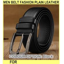 Men Belt Fashion Plain Leather Belt For Men Belt Men Leather - [BLACK]
