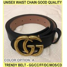 Unisex Waist Chain Good Quality Trendy Belt - GG/CC/FF/DC/MOS/CD - [A]