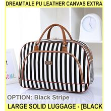 Dreamtale Pu Leather Canvas Extra Large Solid Luggage - [BLACK STRIPE]