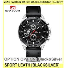 Mens Fashion Watch Water-resistant Luxury Sport Leath - [BLACK&SILVER]