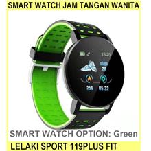 Smart Watch Jam Tangan Wanita Lelaki Sport Watch 119plus Fit - [GREEN]