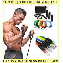 11 PIECE(s) Home Exercise Resistance Bands Yoga Fitness Pilates Gym Wo