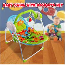CUTEST SAFETY BABY SWING WITH MOSQUITO NET