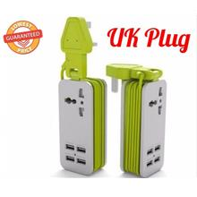 UK Plug Extension Portable Socket with 4 USB Port Charger