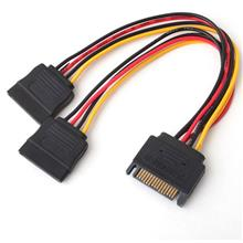 SATA 15 pin Male to 2 x SATA 15 pin Female Y Splitter Power Cable Serial ATA