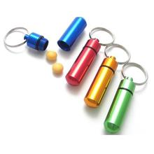 Mini Aluminium Pill Box Holder Keychain