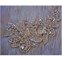 Brooch Diamond Rhinestone Flower Silver Crystal Muslimah Kerongsang