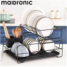 Maidronic 2-Tier Detachable Black Carbon Steel Dish Rack W Drain Tray