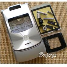 Enjoys: AP ORIGINAL HOUSING Motorola RAZR V3xx ~SILVER ~FULL SET
