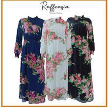 JUBAH ROSE FLORAL DRESS RAFFEASIA MUSLIMAH FASHION DESIGN MODERN
