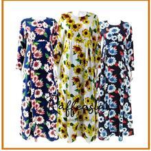 RAFFEASIA JUBAH DRESS MAXI FLORAL SUN FLOWER DESIGN MATERIAL COTTON