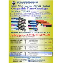 Brand New BROTHER TN345 CMYK/COLOR Compatible Toner Cartridges