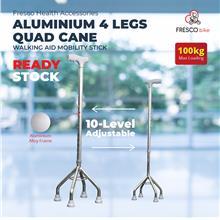 4 Leg Silver Walking Stick Stainless Steel Height Adjustable Light