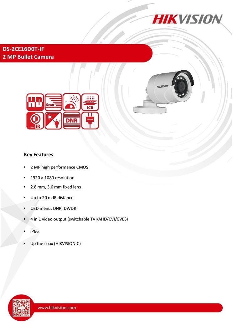 HIKvision DS-2CE16D0T-IF 2MP CCTV 1080P DVR Outdoor DVR Bullet camera