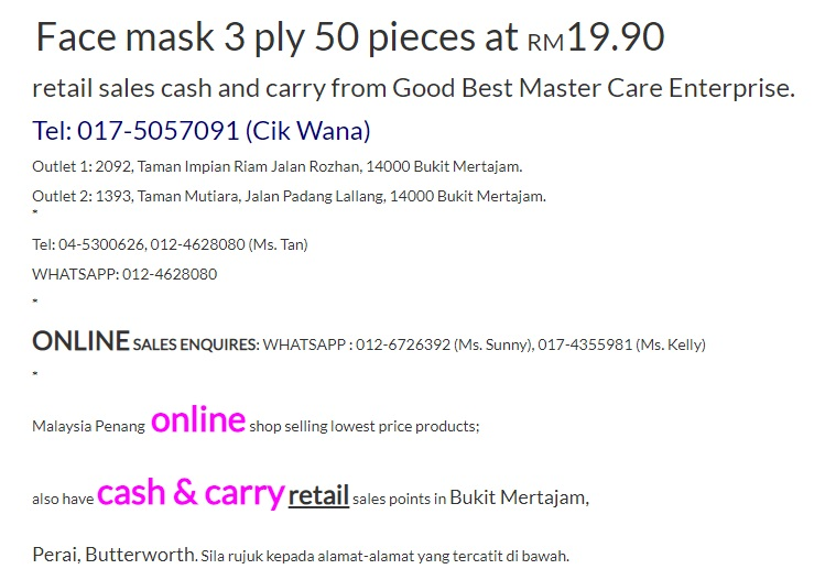 Face Mask 3 ply post ke Sabah, Sandakan, Tawau, Kota Kinabalu, Kudat